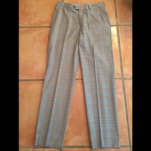 Men's Berle Flat Front Glen Plaid Pants Sz. 33